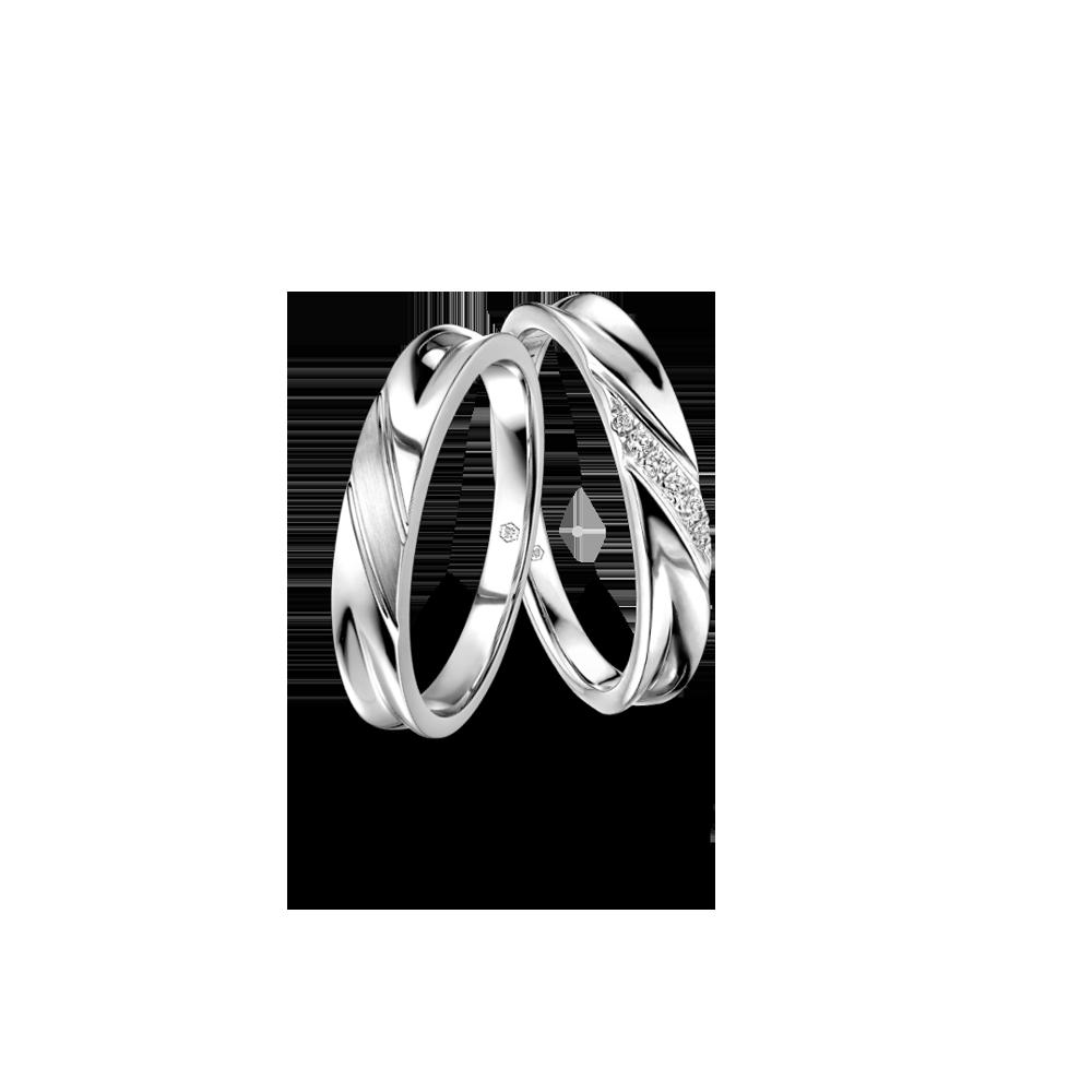 婚嫁系列「爱情轨迹」18K金钻石对装戒指