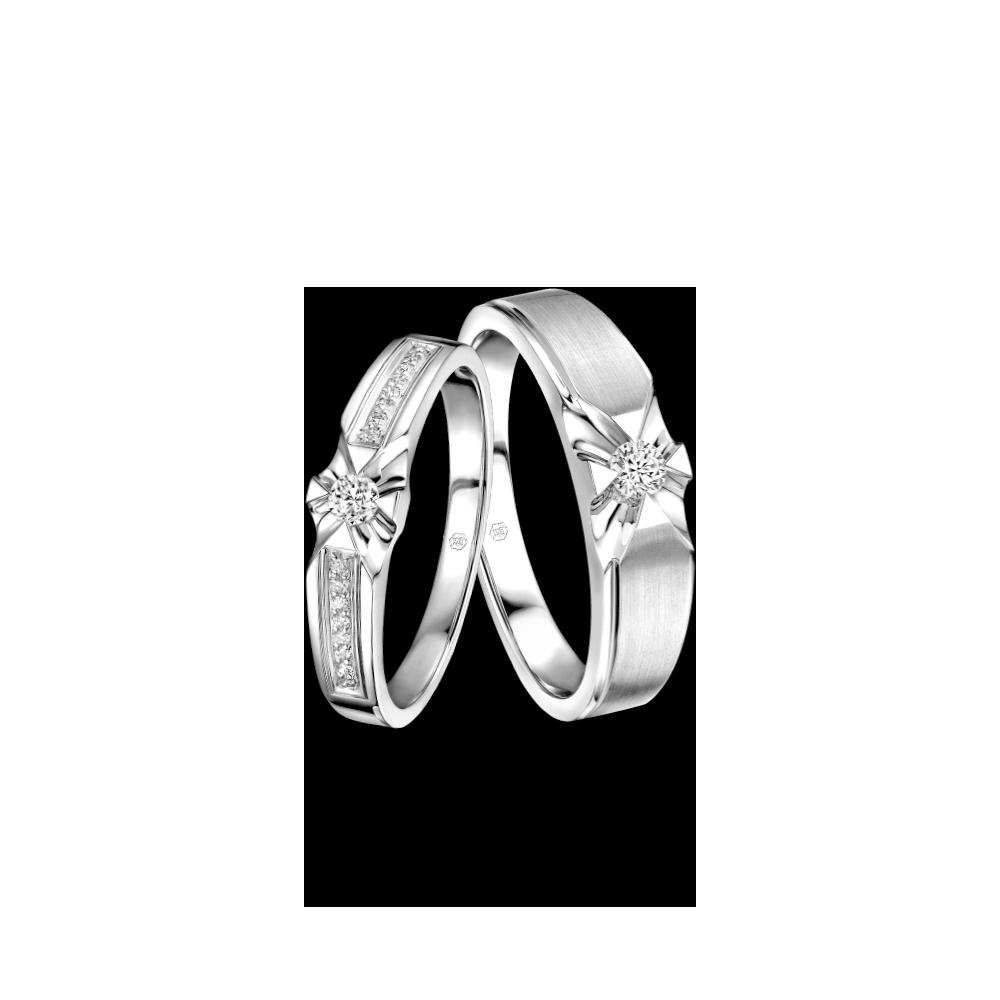 婚嫁系列「浪漫星宿」18K金钻石对装戒指