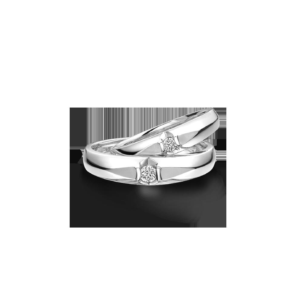 婚嫁系列「两情相悦」18K金钻石对装戒指