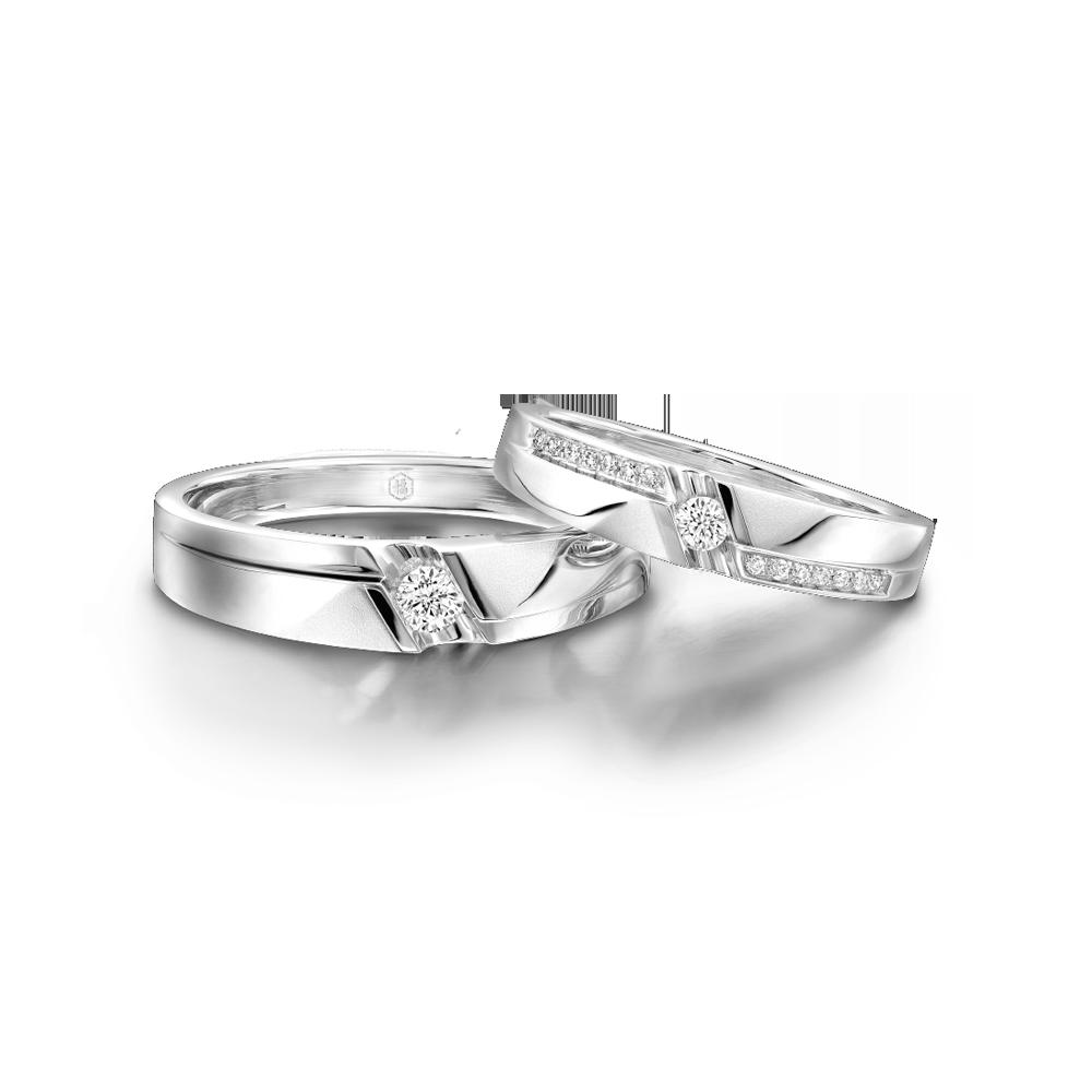 婚嫁系列「甜蜜地带」18K金钻石对装戒指