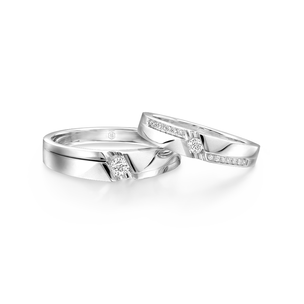 "Wedding Collection ""Love Memory"" 18K Gold Diamond Wedding Rings"