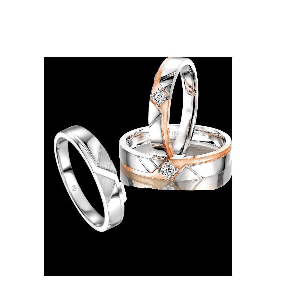 爱恒久系列「爱●恒久」18K金钻石对装戒指