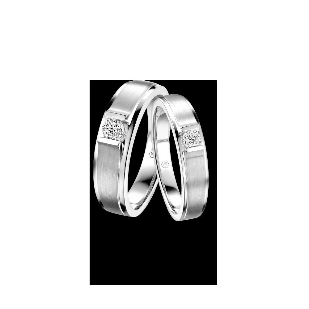 婚嫁系列「厮守一生」18K金钻石对装戒指