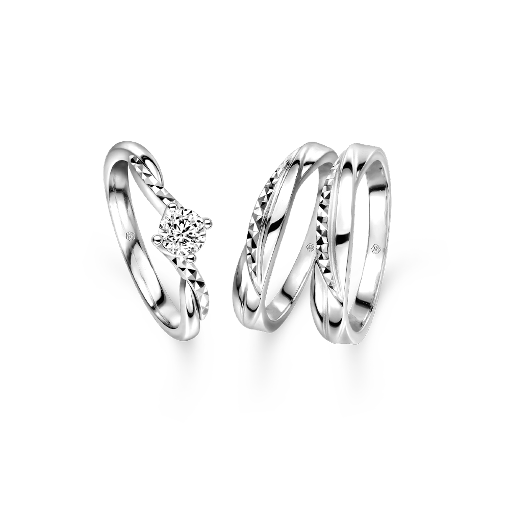 "Wedding Collection ""Loving Hug"" Platinum & Diamond Engagement and Wedding Rings"