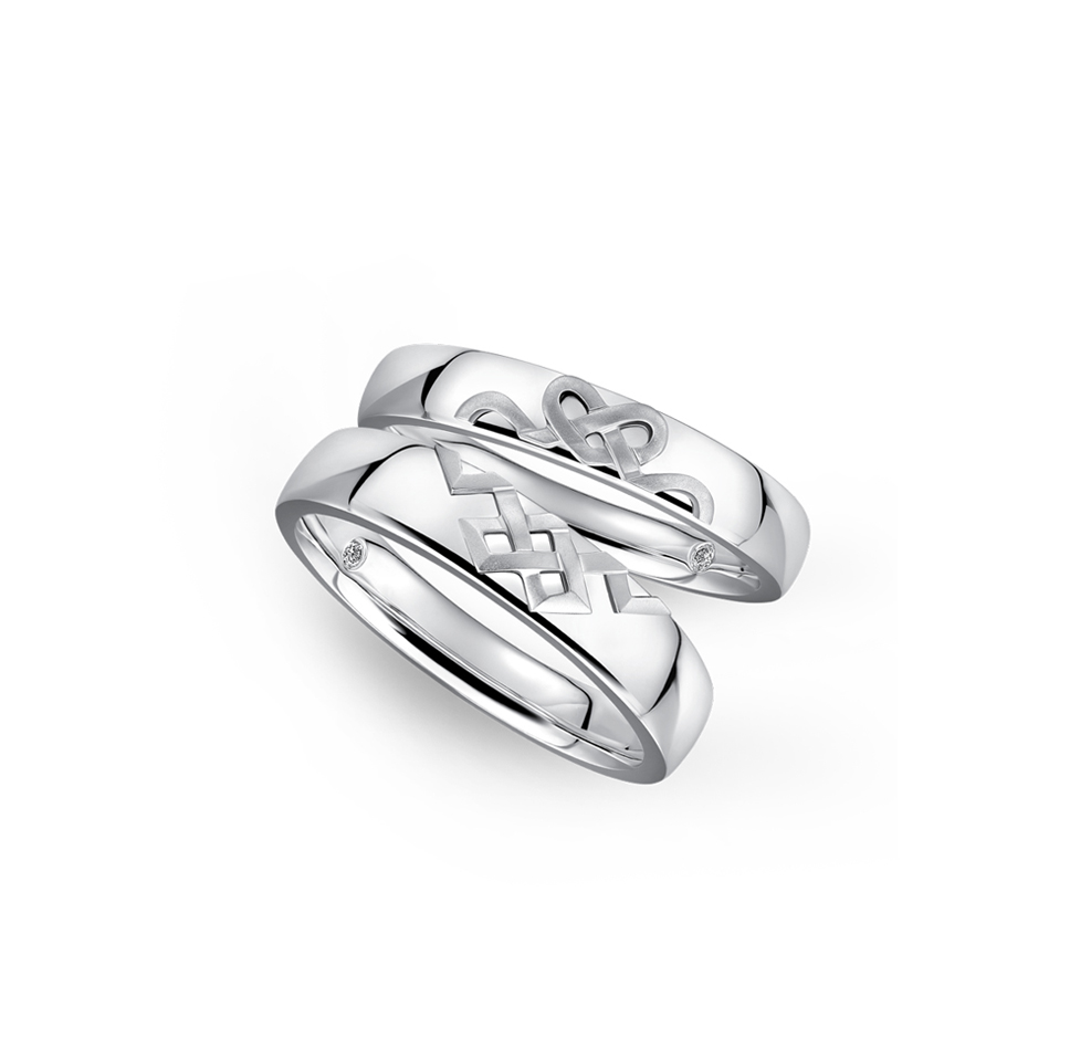 婚嫁系列「喜结良缘」18K金钻石对装戒指