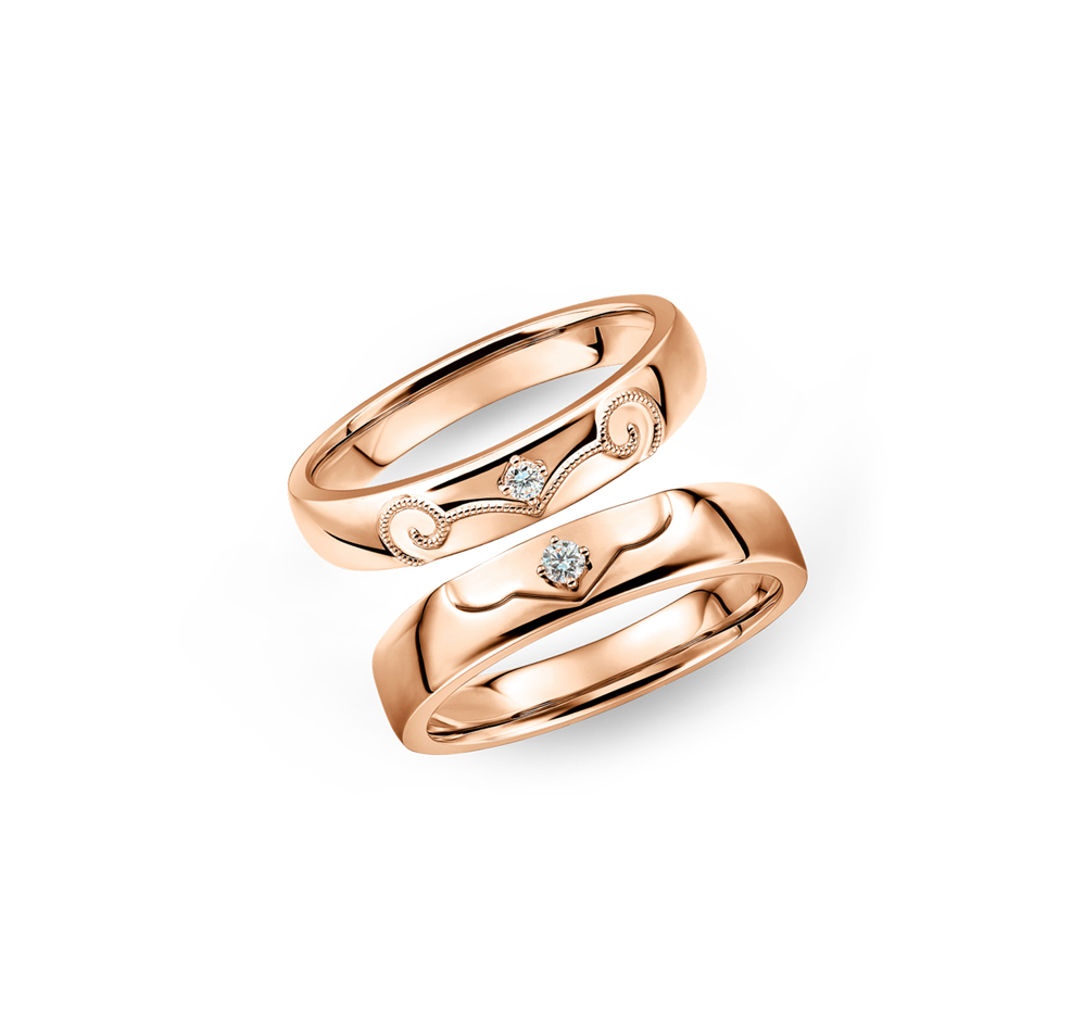 "Wedding Collection ""Faithful Love"" 18K Gold Diamond Wedding Rings"