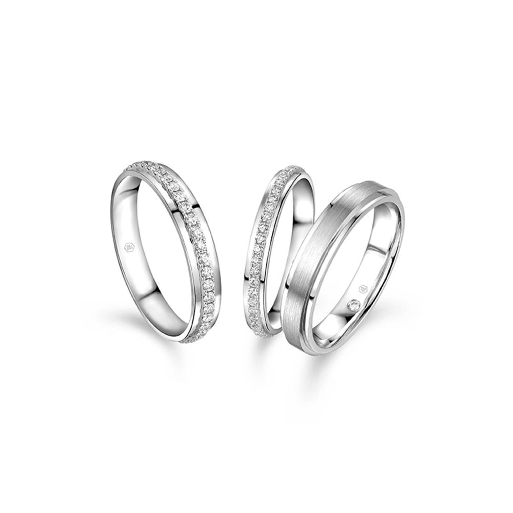 婚嫁系列 18K金(白色)钻石对装戒指