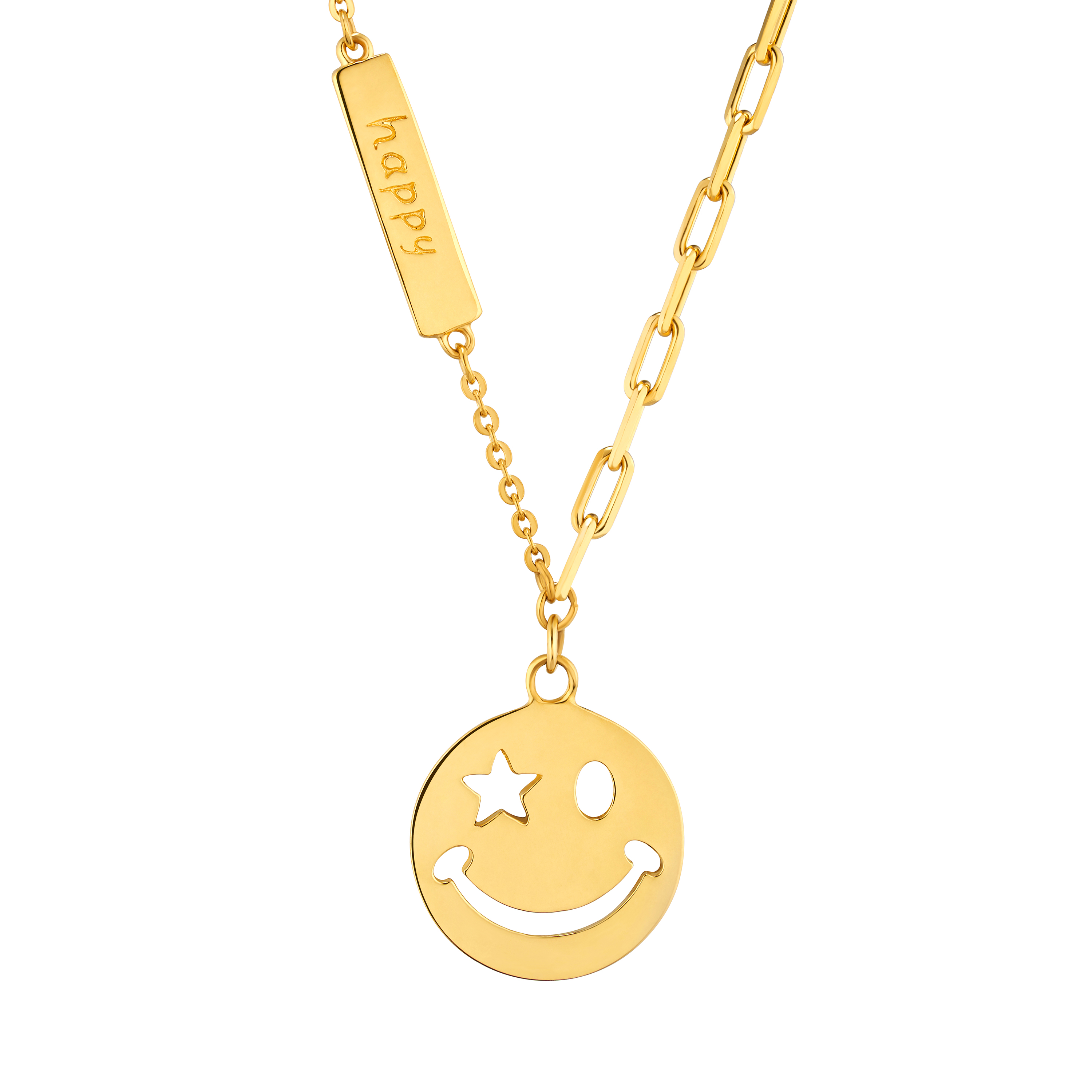 Gold of Light and Shadow Funny Face Necklace
