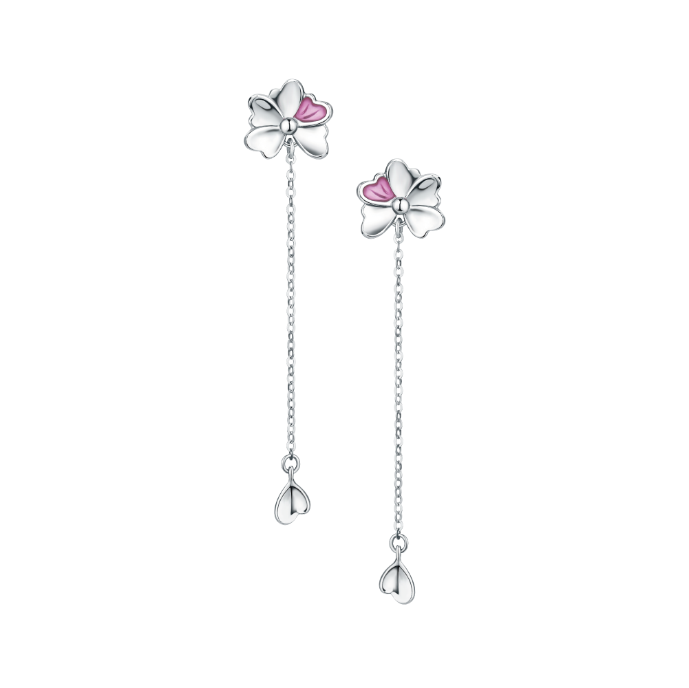 Pt Graceful Collection Elegant Flower Platinum Earrings