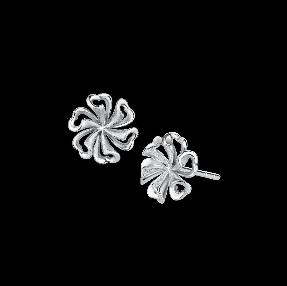 Pt Graceful Collection Delightful Flower Platinum Earrings