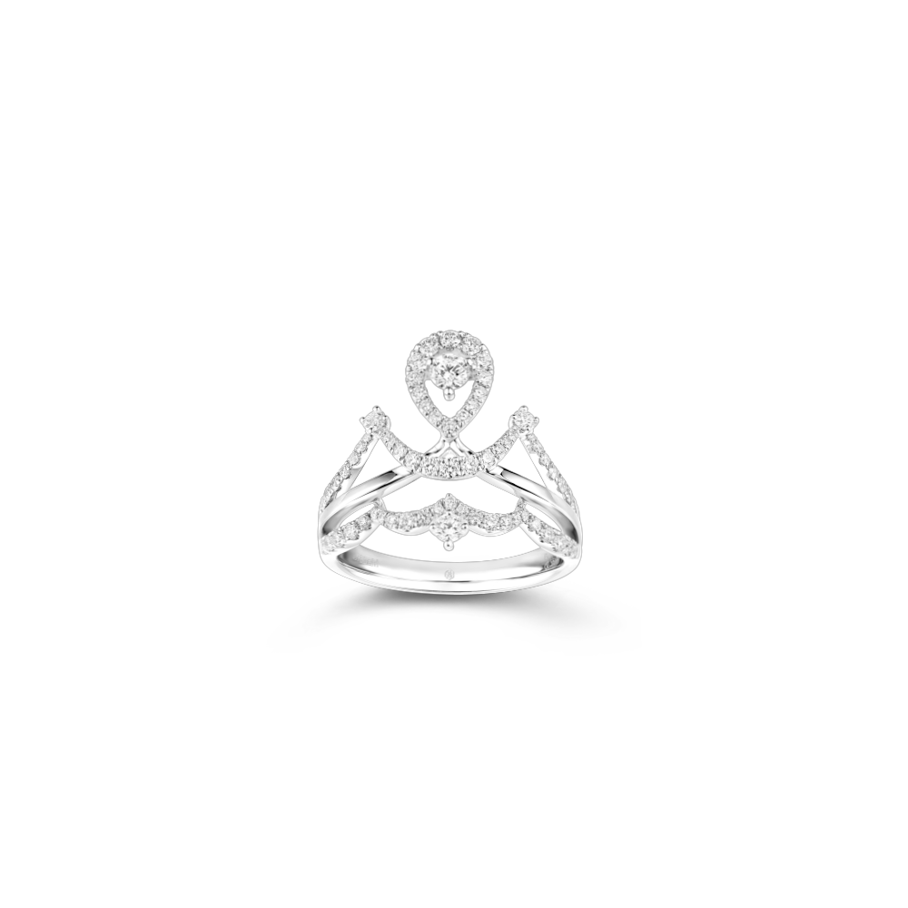 婚嫁系列浪漫恋曲18K金(白色)钻石戒指
