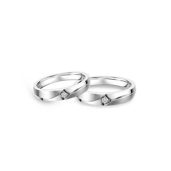 婚嫁系列爱意汇聚18K金钻石对装戒指