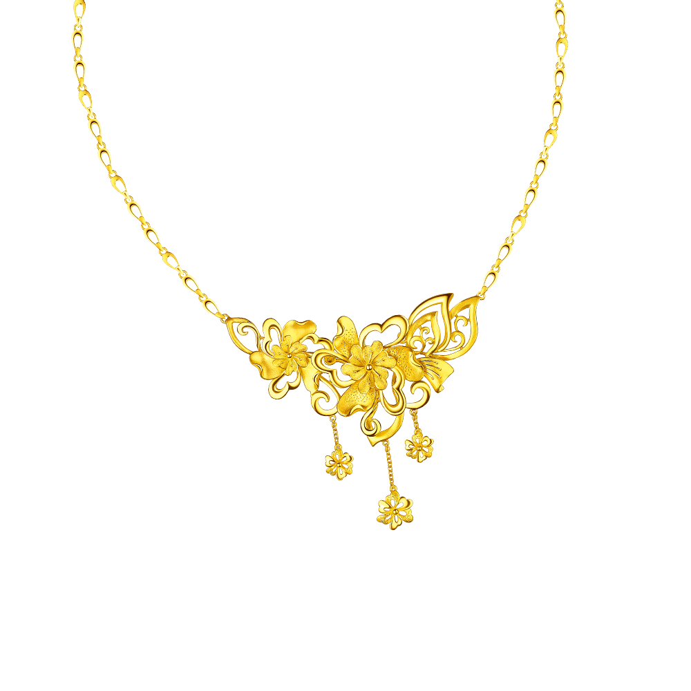 "Beloved Collection ""Six Heartfelt Flower"" Gold Necklace"