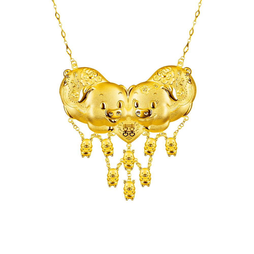 Beloved Collection Best-wishing Gold Pigs Necklace
