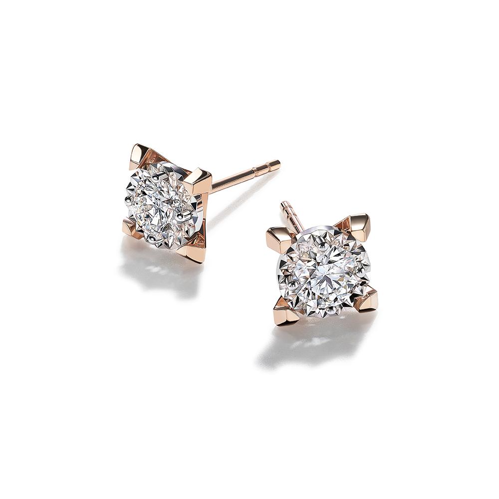 Hexicon 18K Gold Diamond Earrings(Shiny Setting)