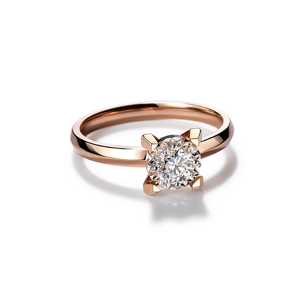 Hexicon  18K Gold Diamond Ring (Shiny Setting)
