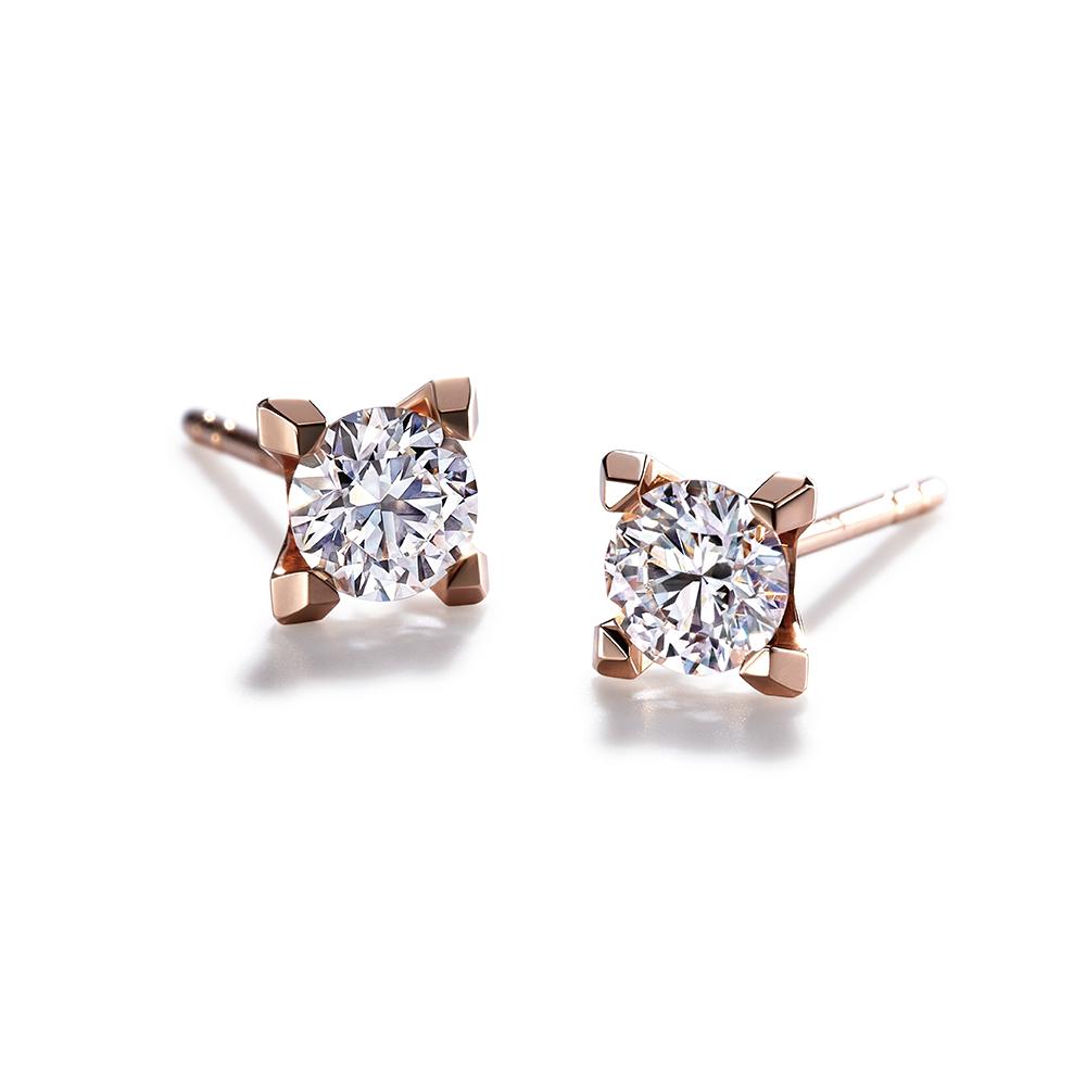 Hexicon 18K Gold Diamond Earrings (Basic Setting)