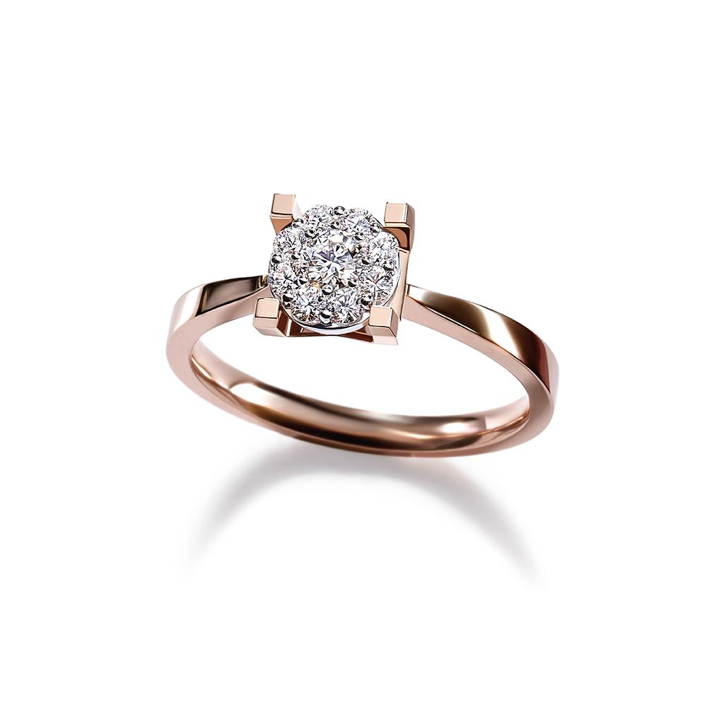 Hexicon 18K金钻石戒指(围镶工艺)