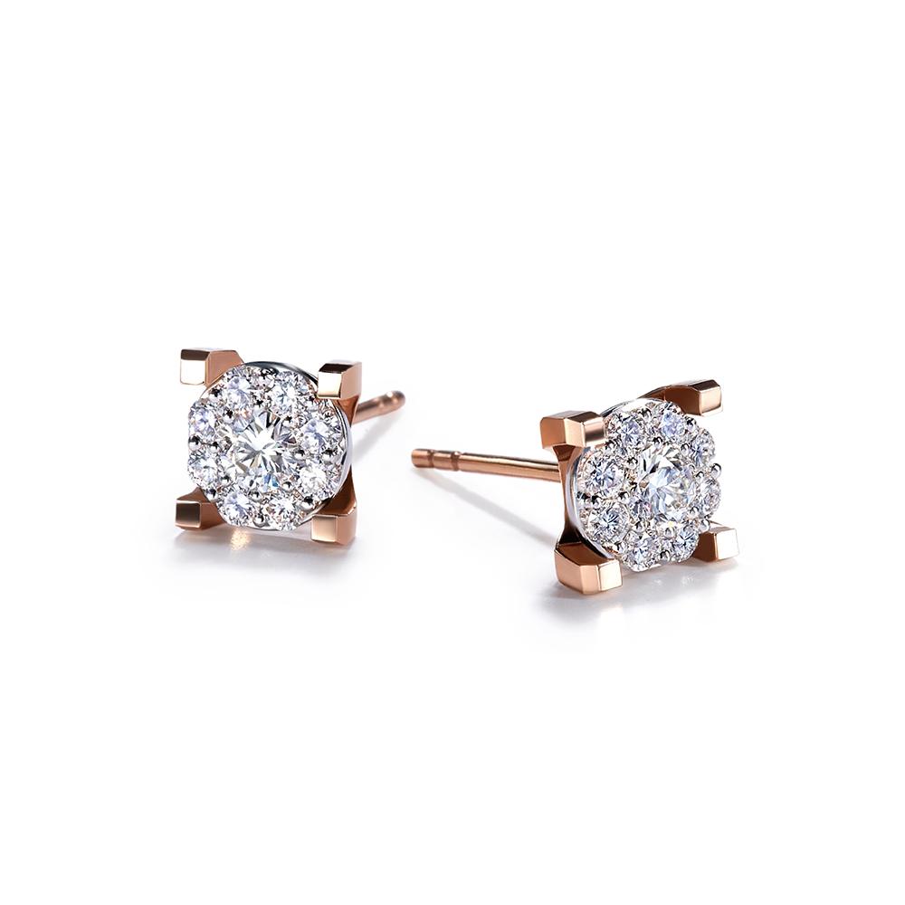 Hexicon  18K Gold Diamond Earrings (Halo Setting)