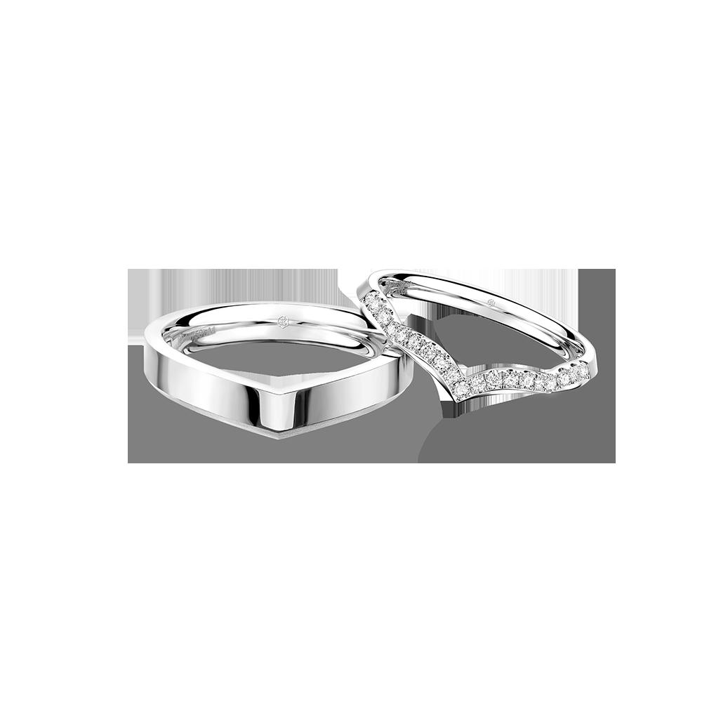 婚嫁系列以心释爱18K金钻石对装戒指