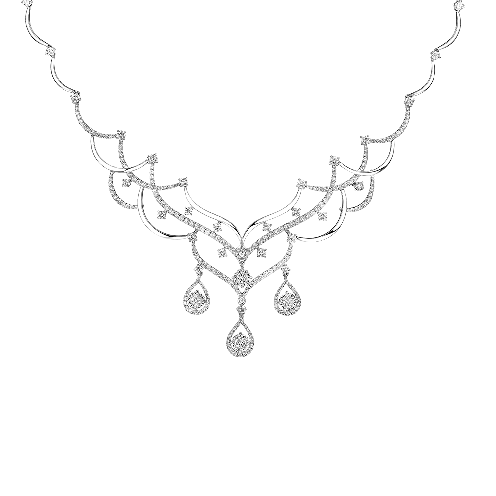 Wedding Collection Romantic Love 18K White Gold Diamond Necklace