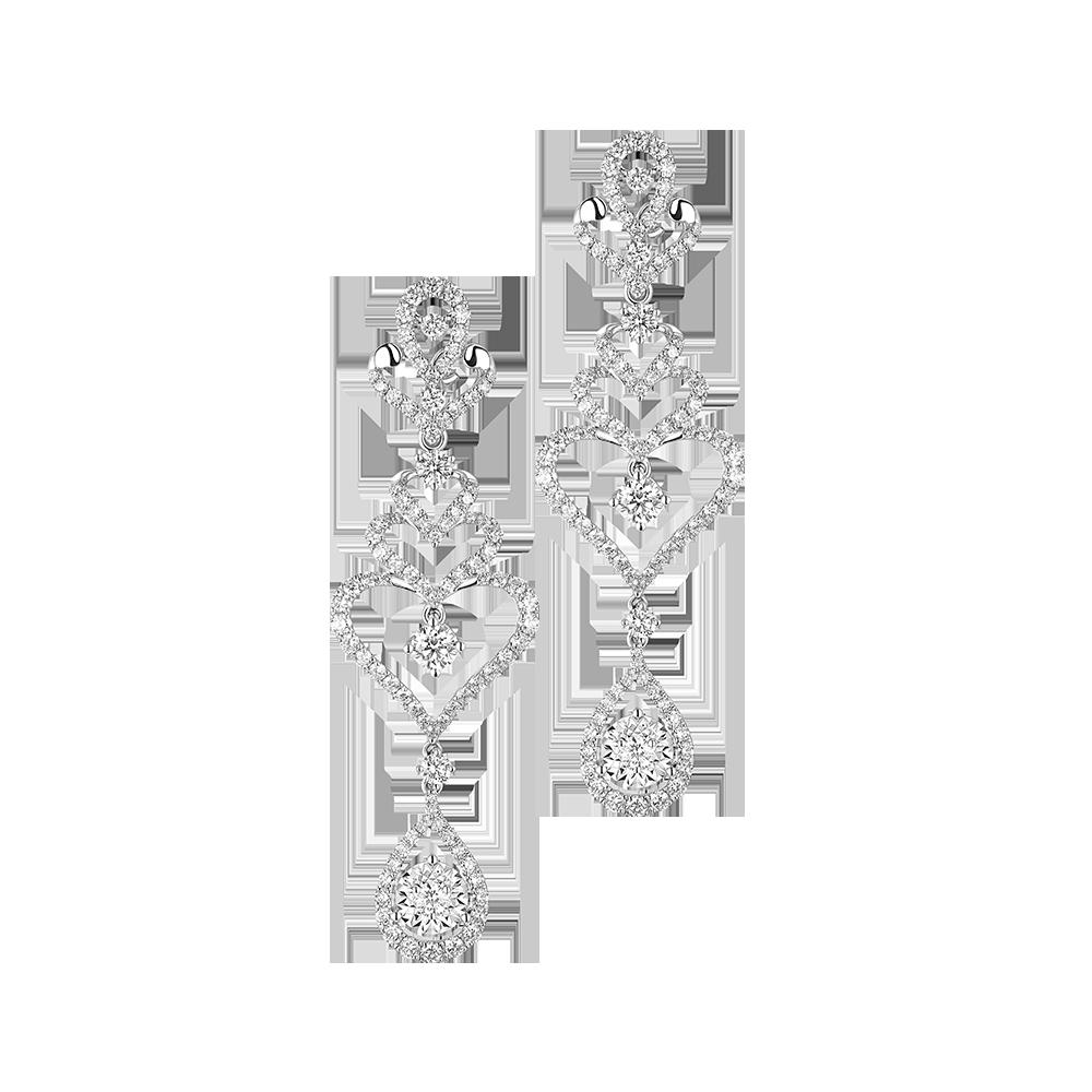 Wedding Collection Romantic Love 18K White Gold Diamond Earrings