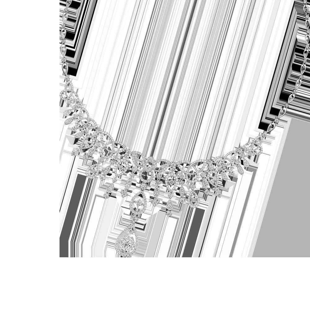 婚嫁系列「爱意满泻」18K金(白色)钻石项链