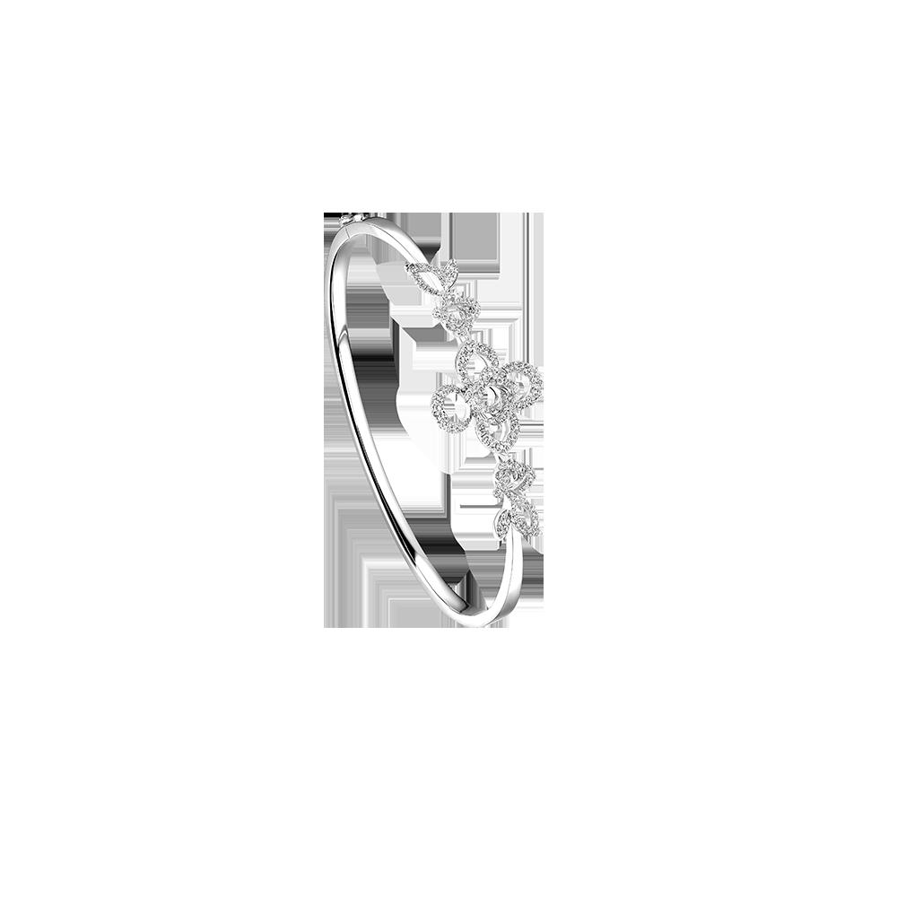婚嫁系列「爱意满泻」18K金(白色)钻石手镯