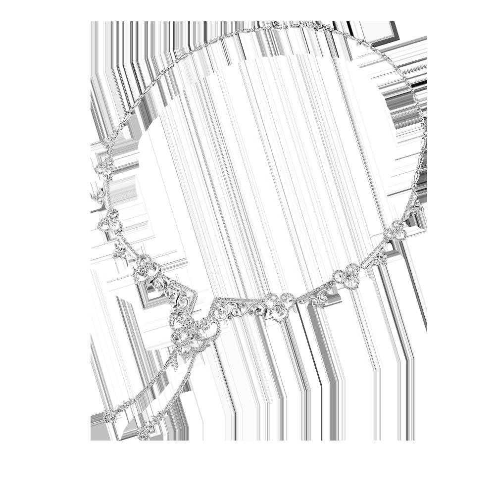 婚嫁系列「幸福如意」18K金(白色)钻石项链