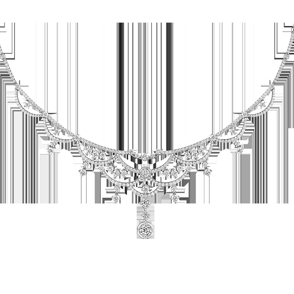 婚嫁系列「浪漫绽放」18K金(白色)钻石项链