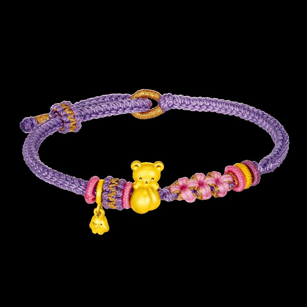 轻松小熊™系列轻松小熊™抱蜜桃足金手绳