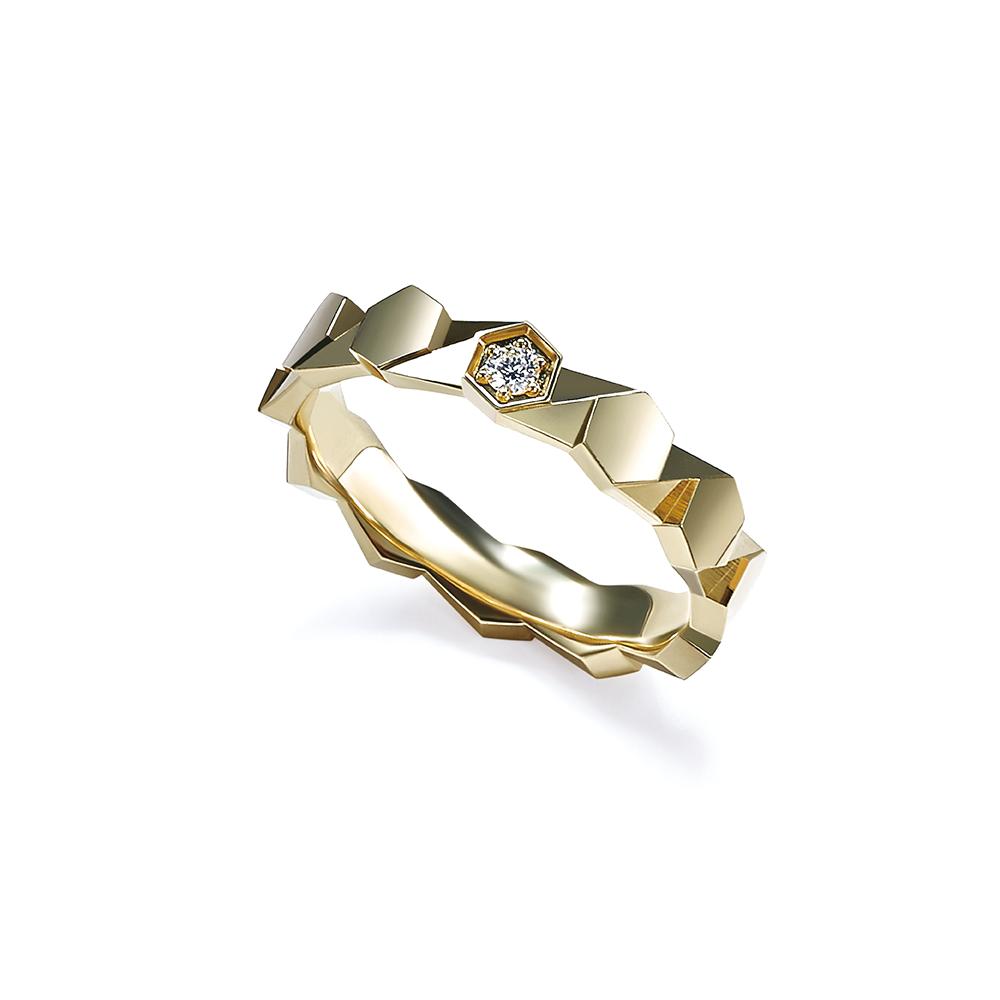 Hexicon 18K金(黄色)钻石戒指