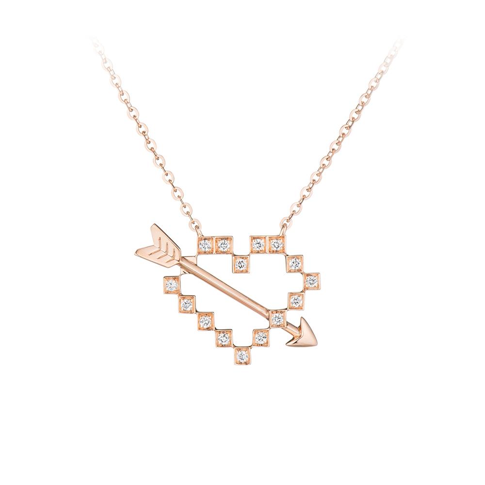 """天天爱上新""""幸福方块"""" 18K金钻石项链"""