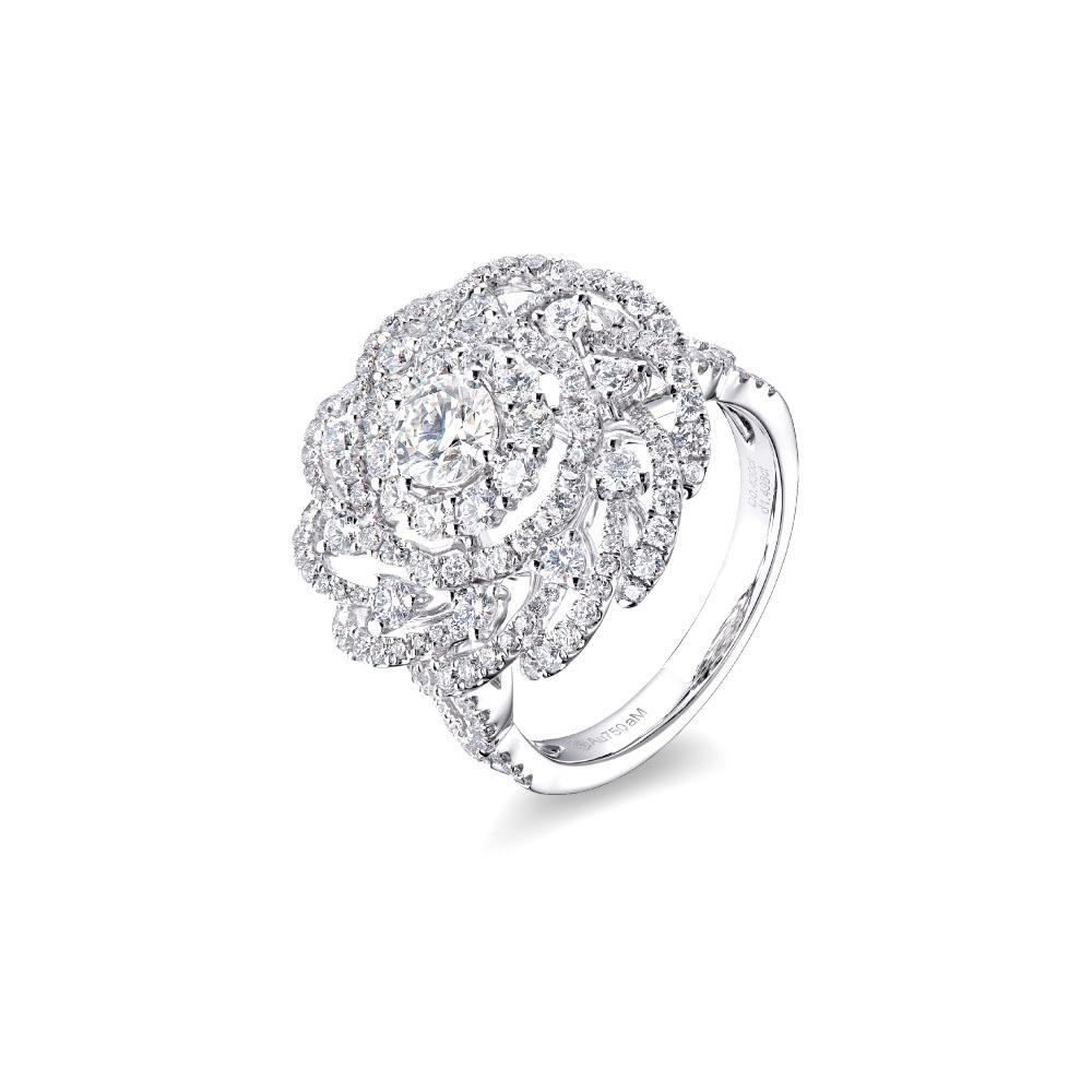 """天天爱上新""""蕾丝花"""" 18K金钻石戒指"""