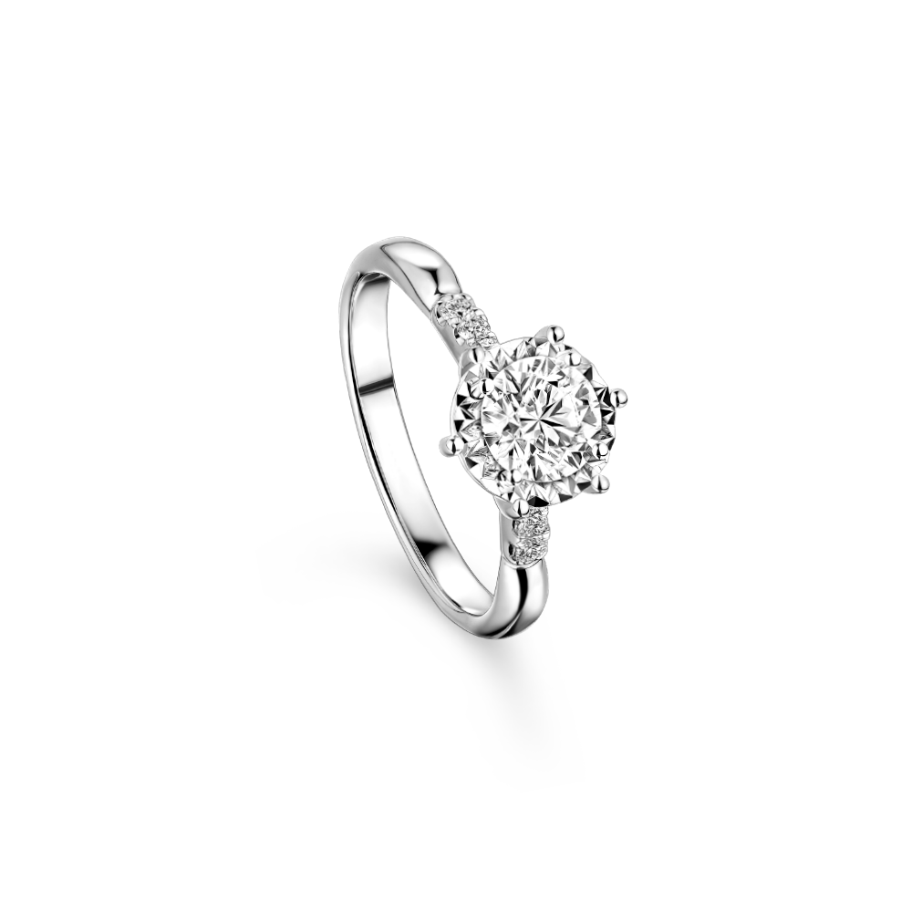 """Wedding Collection """"Love in Heart"""" 18K Gold Diamond Ring"""