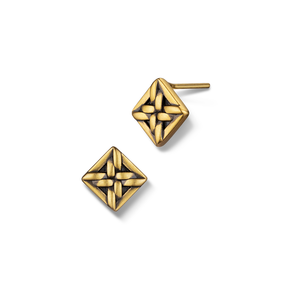 F-style Hey Cool Collection Circle and Square Gold Earrings