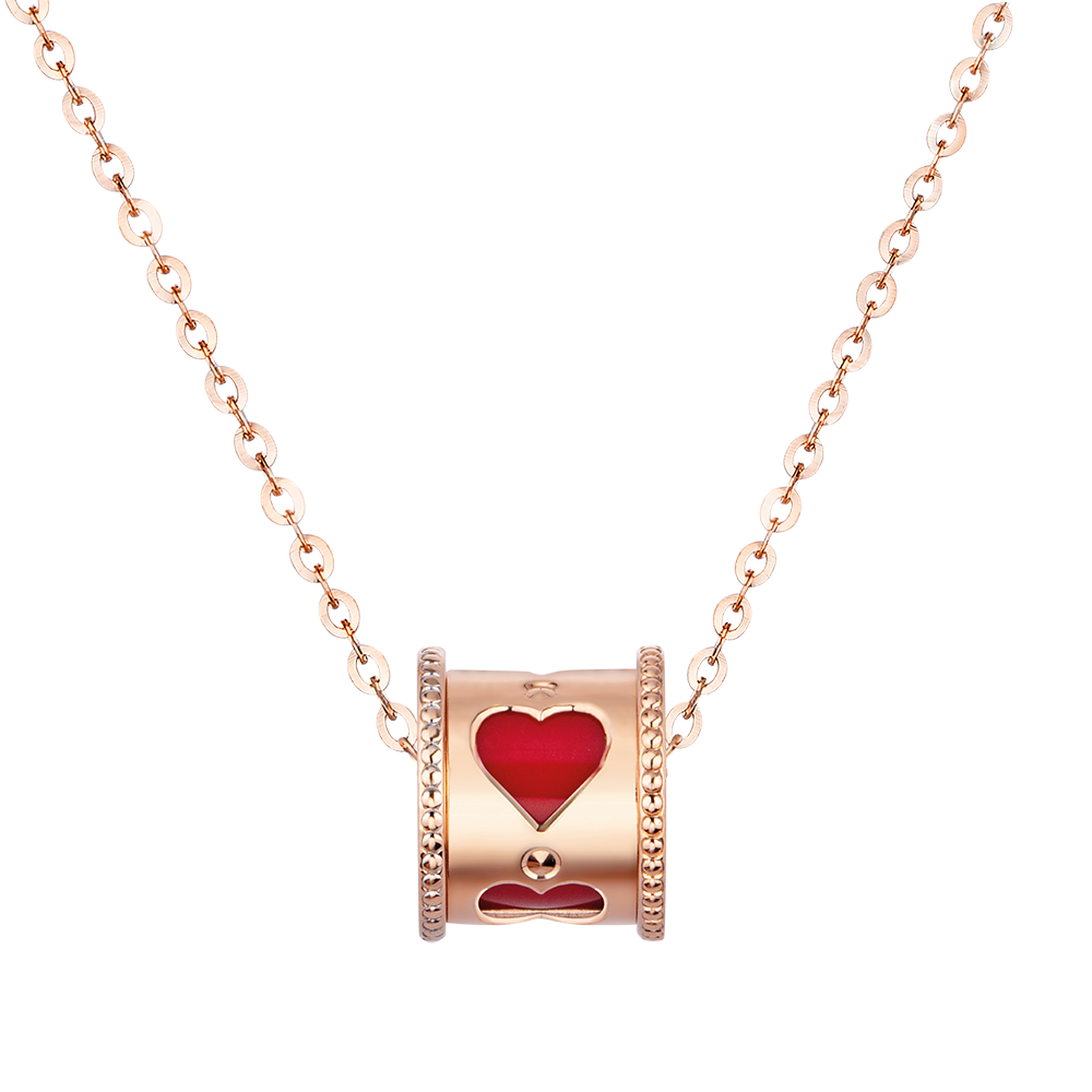 Fancy Kaleidoscope 18K Gold Red/Pink Ceramic Necklace