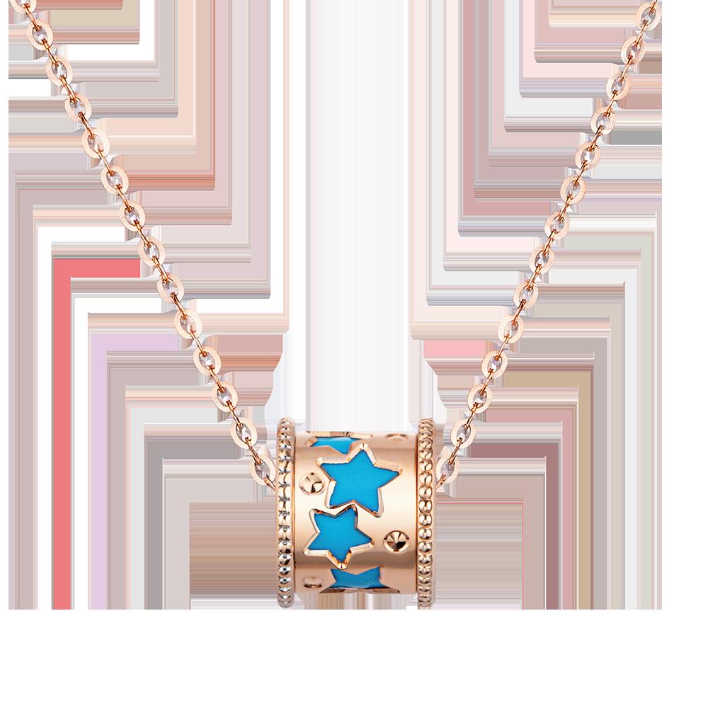 Fancy Kaleidoscope 18K Gold Blue/Yellow Ceramic Necklace