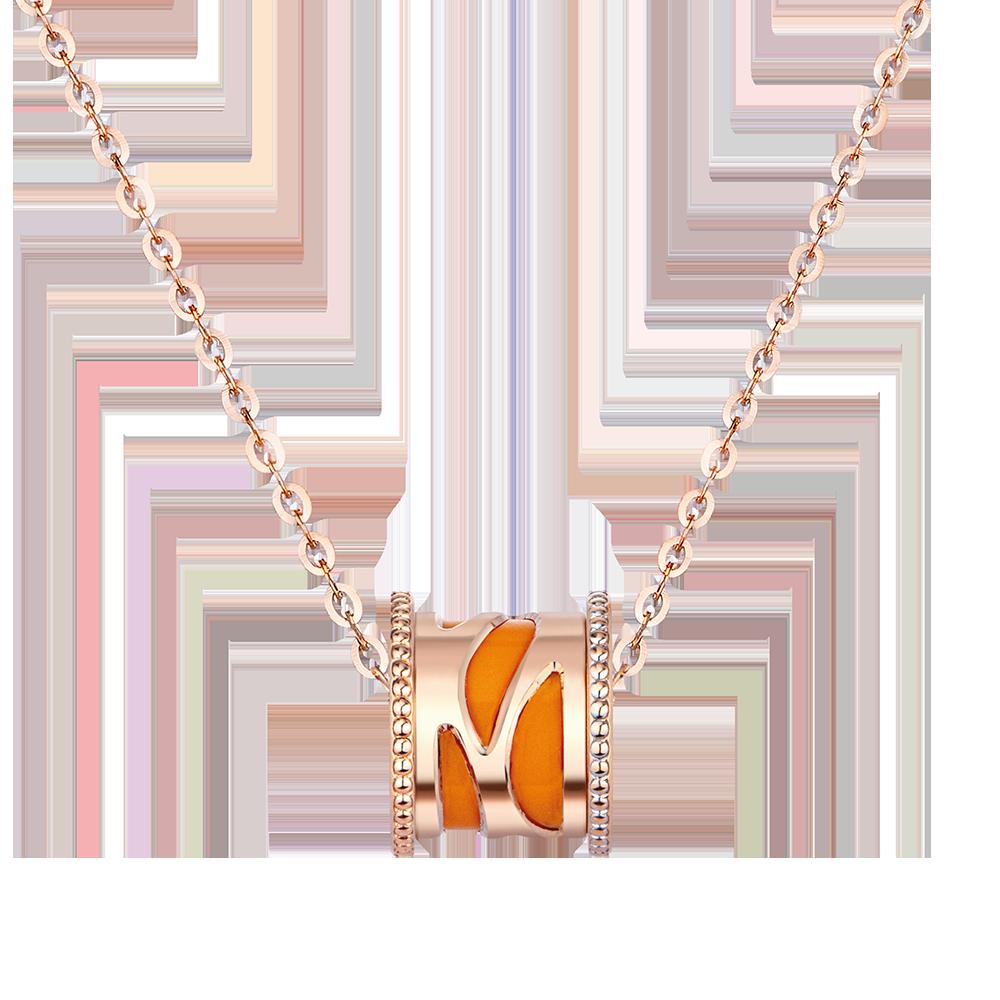 Fancy Kaleidoscope 18K Gold Orange/White Ceramic Necklace