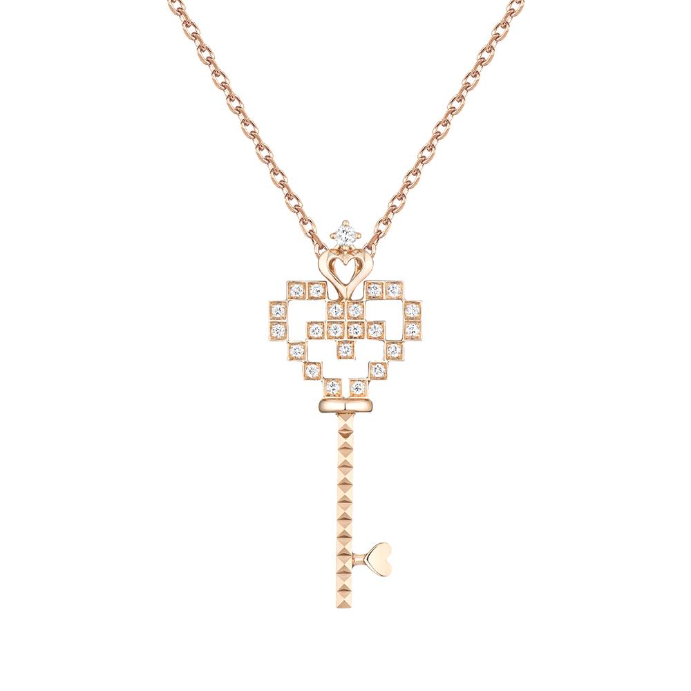 """天天爱上新Tiny Tiny""""幸福钥匙""""18K金钻石挂坠"""