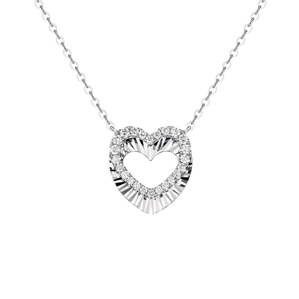 """天天爱上新""""闪动心语""""18K金钻石项链"""
