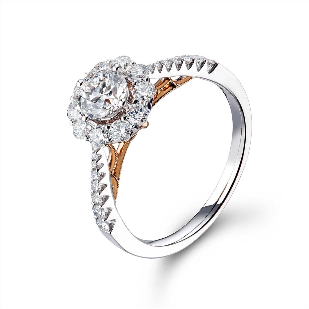 """天天爱上新""""你是唯一"""" 18K金钻石戒指"""