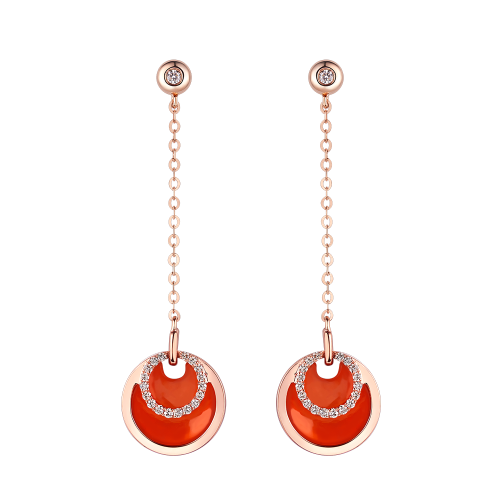 """Double-sided Shine """"Concentric Circles"""" 18K Gold Red Chalcedony and Diamond Earrings"""