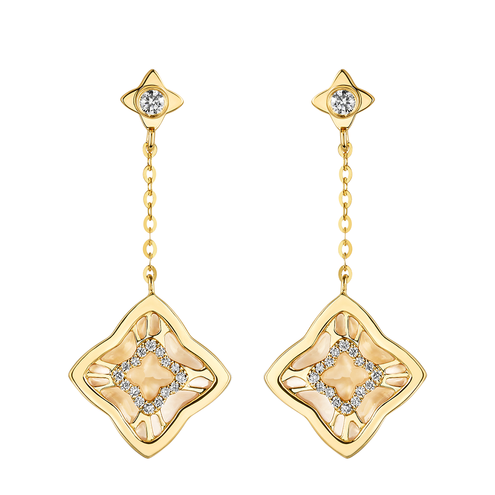 """Double-sided Shine """"Four-Leaf Clover""""18K Gold Diamond and Mother-of-Pearl Earrings"""