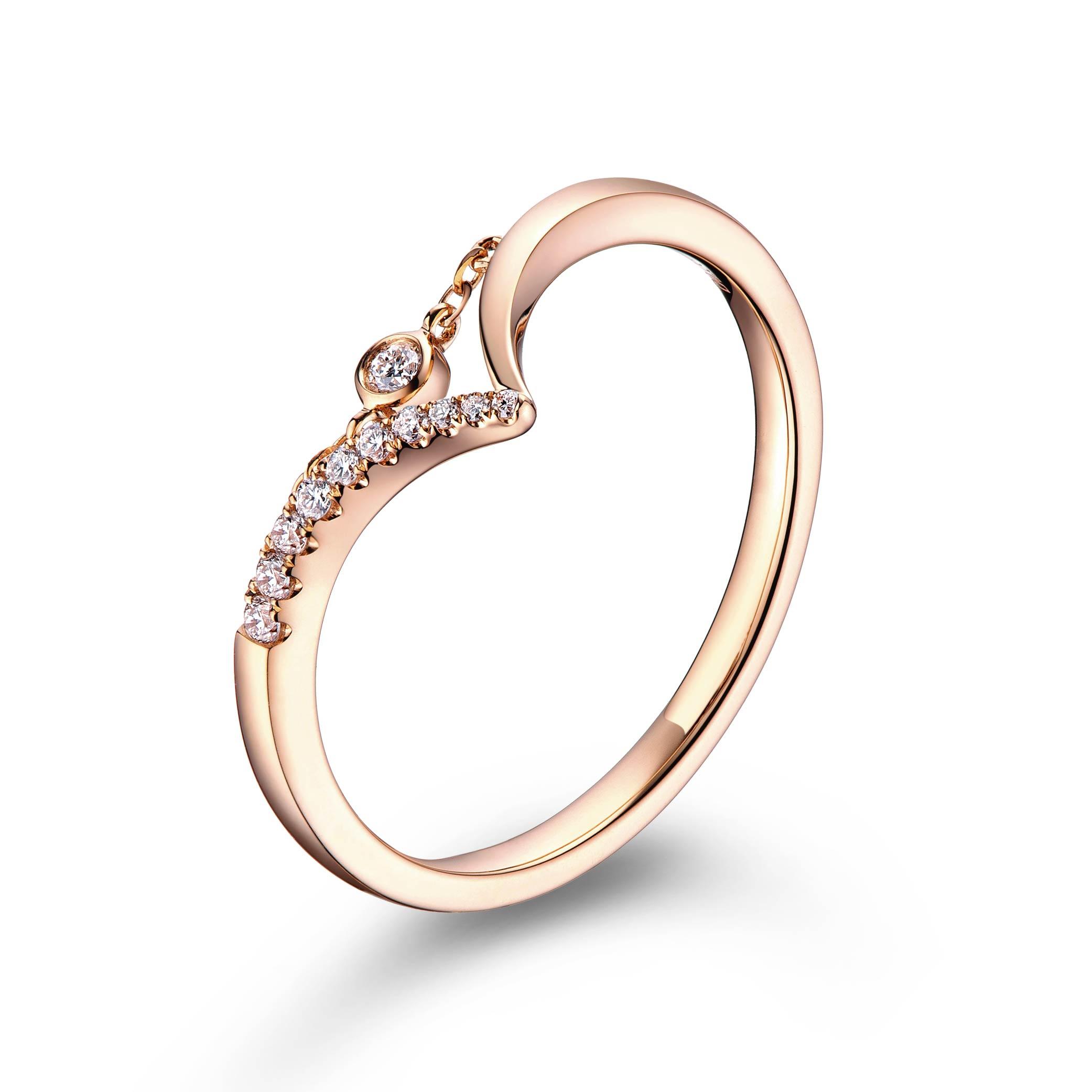 """天天爱上新TinyTiny""""爱的守护""""18K金钻石戒指"""